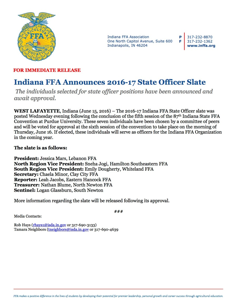 Indiana FFA State Officer Slate Annoucement 2016-17